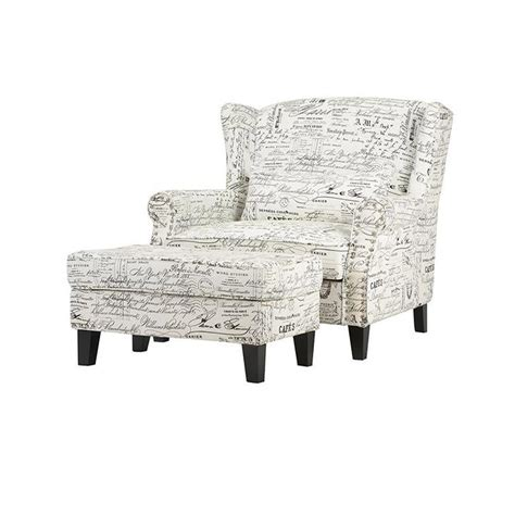 Script Chair And Ottoman home decorators collection zoey script white polyester arm