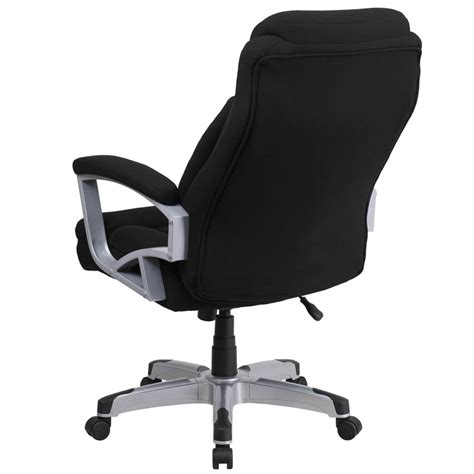 heavy duty 500 lb capacity big black fabric office chair with lumbar sup ebay