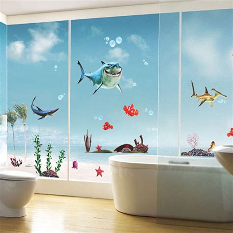 new finding nemo fish wall stickers bathroom 3d bathing wall stickers decor removable