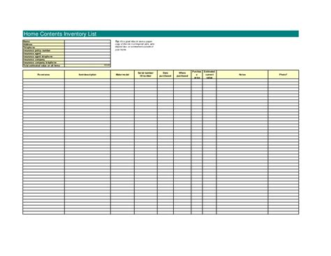 safe deposit box inventory form 21836965 home contents inventory template excel