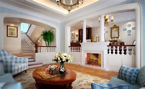 Interior Design Living Room Villa Mediterranean Style
