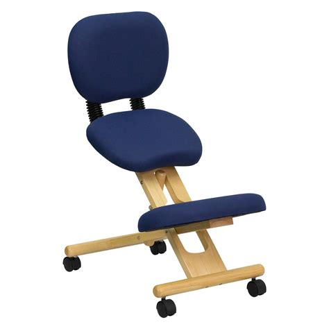 flash furniture wooden ergonomic kneeling posture office chair with reclining back blue fabric