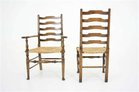 antique scottish oak ladder back dining chairs seats at 1stdibs