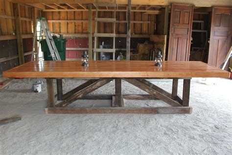 Long And Large Easy Diy Trestle Farmhouse Dining Table