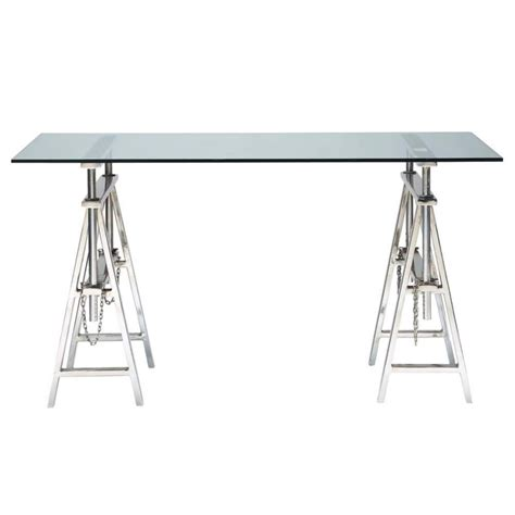 Glass and chrome metal desk W 150cm Helsinki   Maisons du Monde