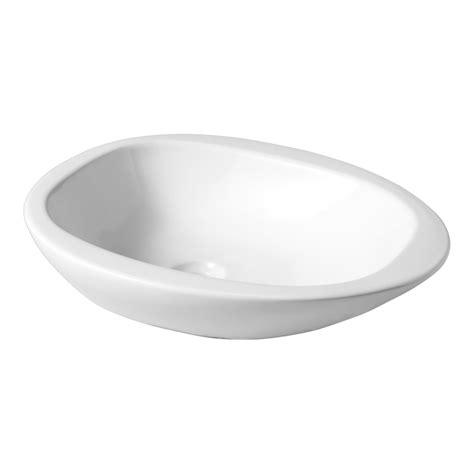 vasque 224 poser blanche en forme de galet 111110