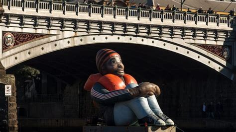 Inflatable Boat Yarra River by Inflatable Refugee Floating On Yarra River Depicts Global