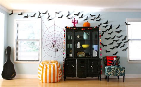 furniture awesome diy spider web decor with bats on wall spooky effect haunted