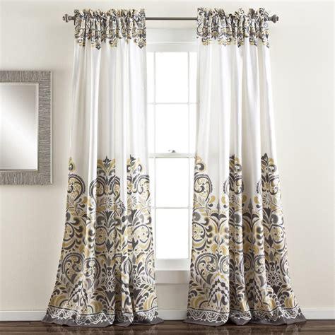 grey gray yellow white modern global paisley curtains set of 2 panels 84 quot l ebay