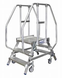 Leiter 3 Stufen : podest leiter aus alu fahrbar 2x3 stufen beidseitig besteigbar ~ Markanthonyermac.com Haus und Dekorationen