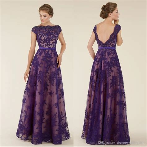 Boat Neck Mother Of The Groom Dress by Plus Size Purple Lace Mother Of The Bride Dresses 2017