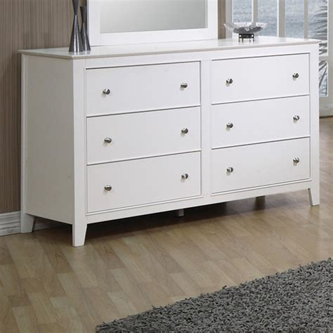 6 drawer dresser white shop coaster furniture selena white 6 drawer dresser
