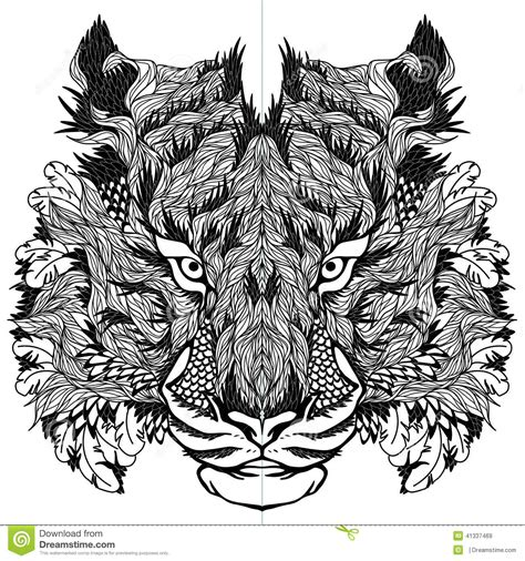 Tiger Head Tattoo Psychedelic Stock Vector  Illustration Of Background, Clip 41337469