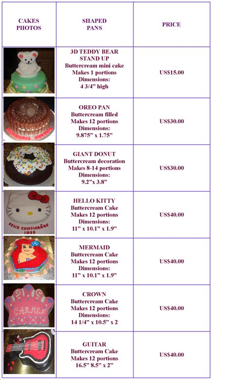 cake pricing chart www sweetsusy cakes shaped buttercream pricing