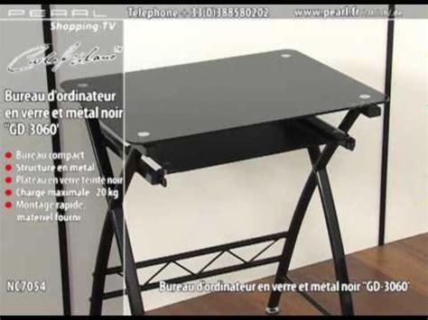 nc7054 bureau d ordinateur en verre et m 201 tal noir gd 3060