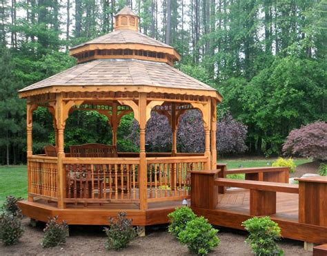Gazebo : Red Cedar Double Roof Octagon Gazebos With Metal Roof