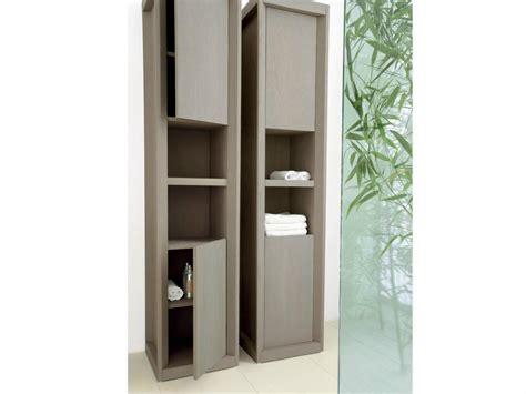 Bathroom Ideas. Brown Plyywood Veneered Tall Narrow