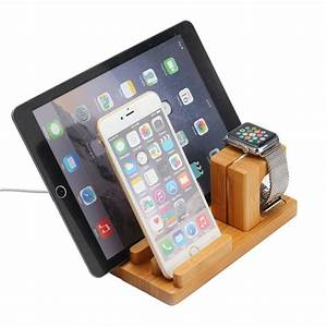 Ipad Iphone Ladestation : docking station ladestation bambus tisch st nder f r ipad iwatch iphone 5 6 6s ebay ~ Markanthonyermac.com Haus und Dekorationen