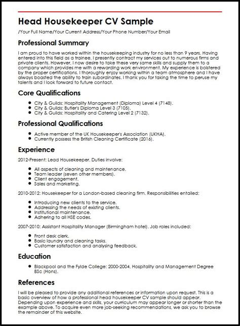 Resume For Hotel Housekeeping Job  Resume Ideas