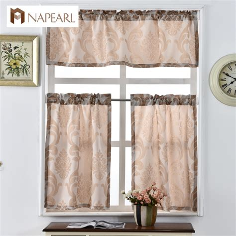 kitchen curtains shade window treatments modern door jacquard thick cafe curtain panel