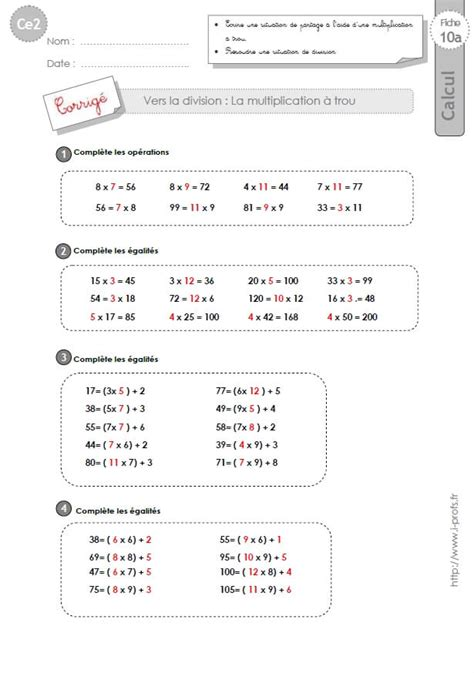ce2 exercices corrig 233 s la multiplication 224 trou