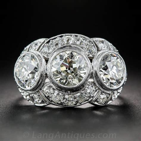 deco 3 65 carat platinum three ring for sale at 1stdibs