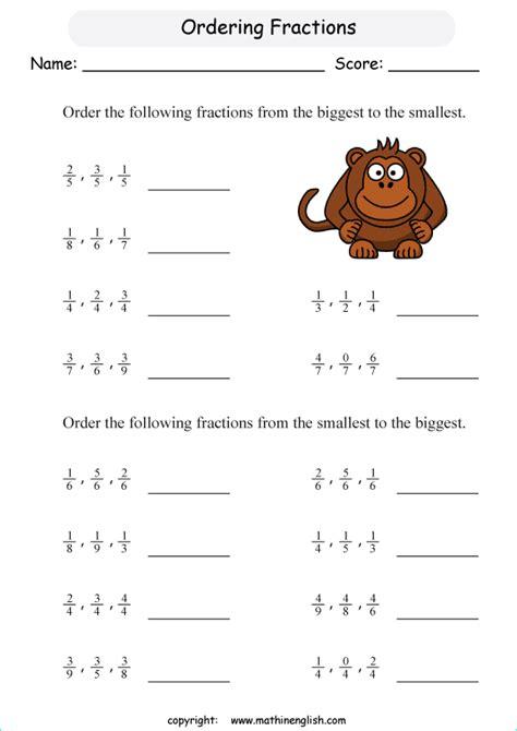 Ordering Fractions Homework Year 6