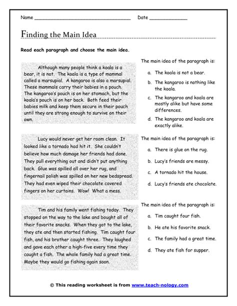 Main Idea Printable Worksheets For First Grade  A Day In First Grade What Does The Fox Say