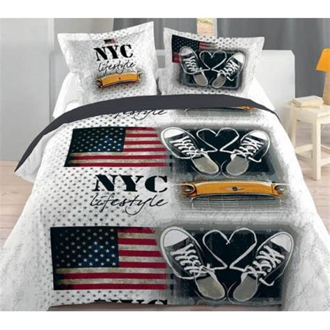 basket housse couette 240 220 2 taies 63 63cm d 233 co mode ado new york