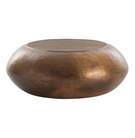 Santiago Modern Burnished Brass Drum Coffee Table   Kathy Kuo Home