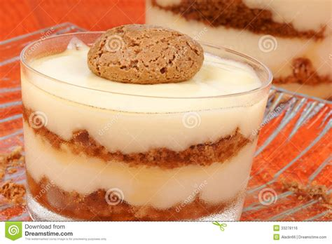 vanilla custard and amaretti dessert royalty free stock image image 33278116