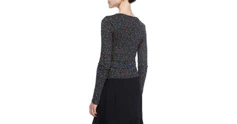 Diane Von Furstenberg Long-sleeve Beaded Ballerina Wrap Sweater In Black