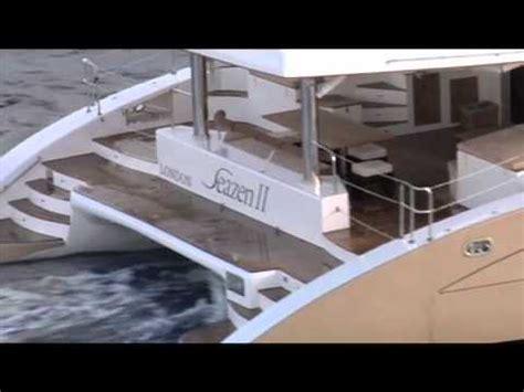 Mega Catamaran Sailing Yachts by Two Luxury Mega Catamarans Sailing Together In Antigua