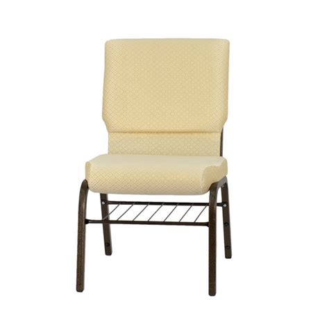 hercules series 18 5 w church chair in beige patterned fabric with book rack gold vein frame