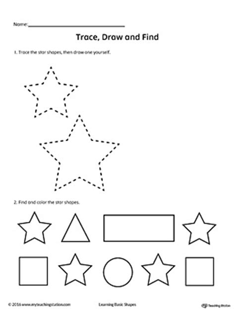 Trace, Draw And Find Star Shape Myteachingstationcom