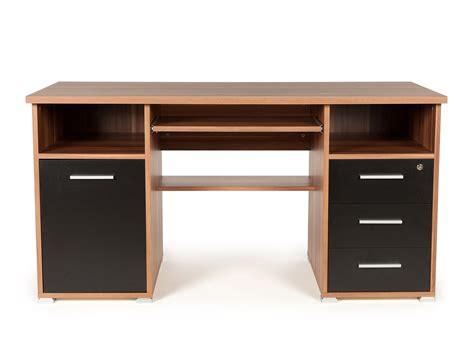 bureau informatique avec caisson tiroirs niches en bois l145xh75cm prima noyer noir