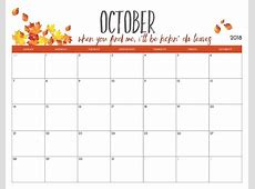Free October 2018 Calendar with Holidays Download August