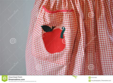 Red And White Gingham Apron With Apple And Worm Applique