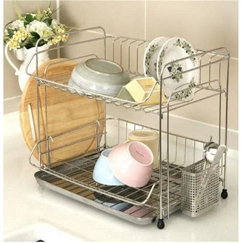 Stainless 2 Tier Dish Drying Rack Drainer Dryer Tray