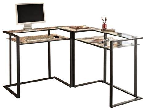 walker edison c frame glass and metal l shaped computer desk in black transitional desks and