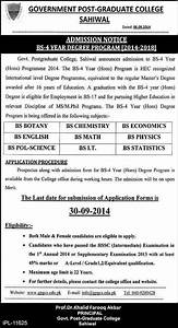 Admissions Open in Govt Post Graduate College Sahiwal ...