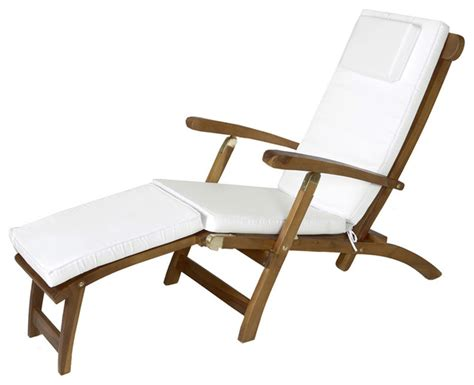 teak steamer w white cushion traditional outdoor lounge chairs by all things cedar inc