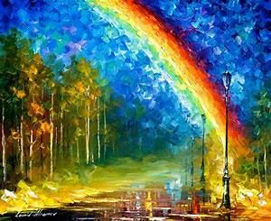 Art Leonid Afremov Rainbow Oil Painting Blue Home Decor On