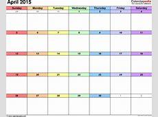 April 2015 Calendars for Word, Excel & PDF