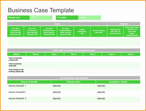 Business Case Template Excel Free Images