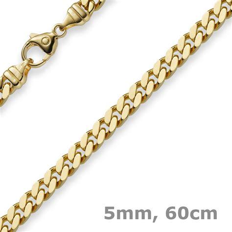 5mm Panzerkette Kette Collier aus 585 Gold Gelbgold