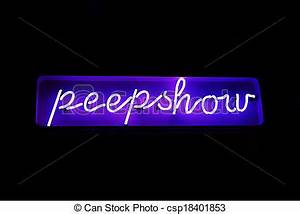 Neon peepshow sign from the red light district. A neon ...