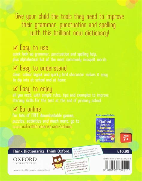 Oxford Primary Grammar, Punctuation, And Spelling Dictionary By Oxfordfree P&p 9780192734211