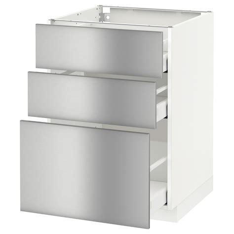 metod maximera base cabinet with 3 drawers white grevsta stainless steel 60x60 cm ikea