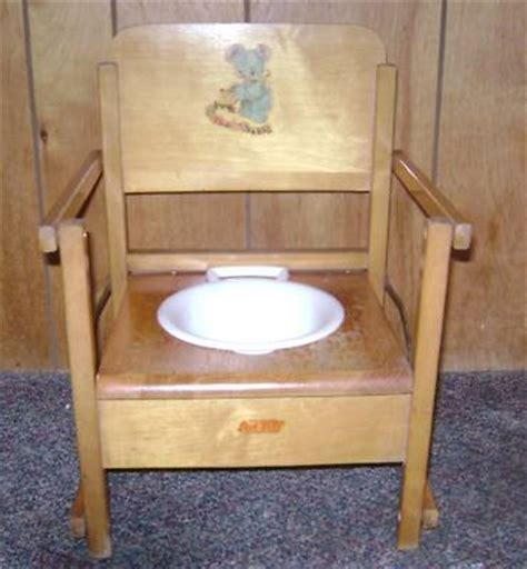 vintage oak hill child s wooden potty chair antique price guide details page